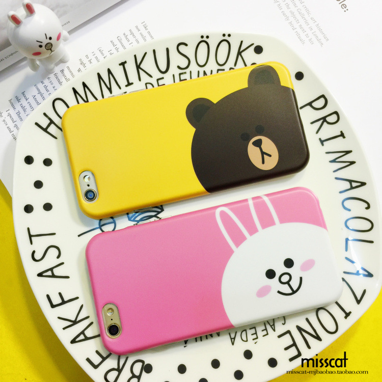 Korea Line IMD Painting Brown Bear Conny Bunny Cartoon Soft Skinny Cover Case Protector For iphone 6/6s 6PLUS Body Protection(China (Mainland))