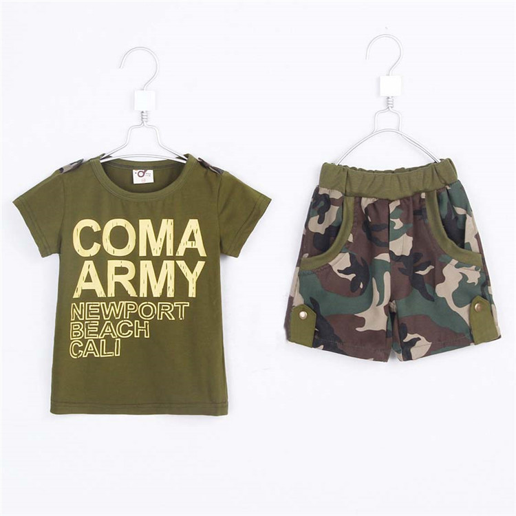 2015 summer boys letter print short T-shirt & camouflage pant baby boys fashion clothing set kids cotton casual clothes A1704(China (Mainland))