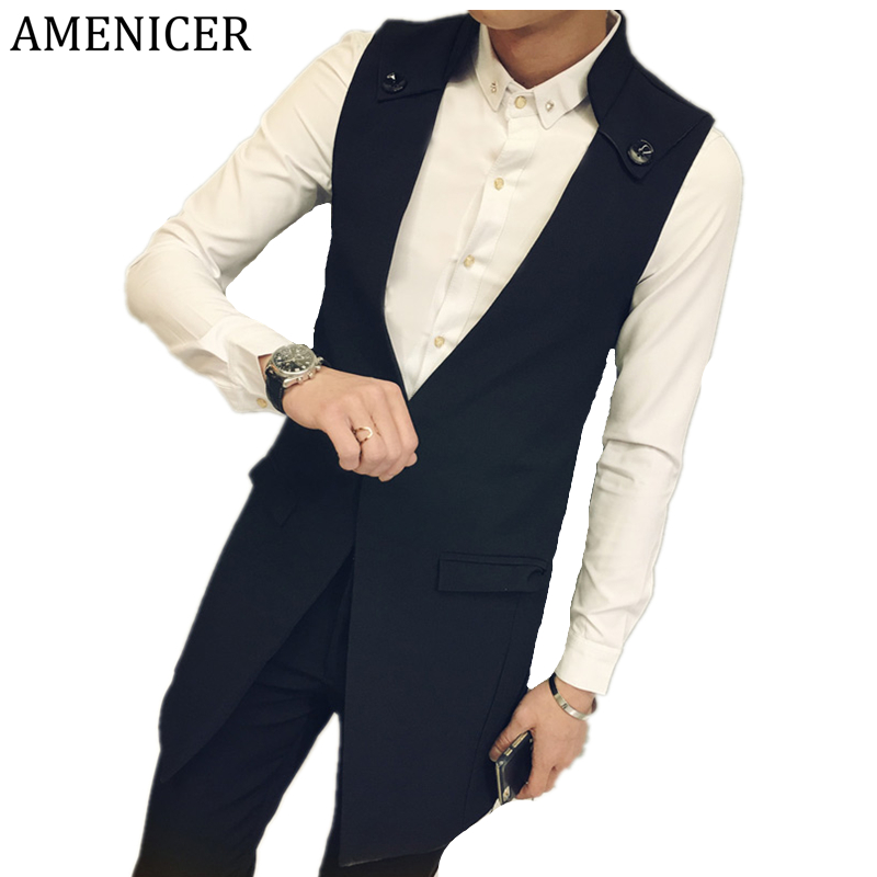 New Arrival 2016 Men Vests Stand Collar Single Button Slim Fit Casual Fashion brand-clothing Sleeveless Mens Vest Manteau Homme(China (Mainland))