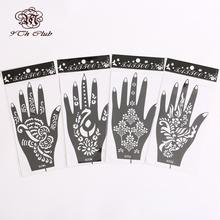 4Pair (8pcs)Mehndi Henna Tattoo Stencil Templates,Flower Glitter Airbrush Hand Henna Tattoo Stencils For Body Paint 20#21#22#1#(China (Mainland))