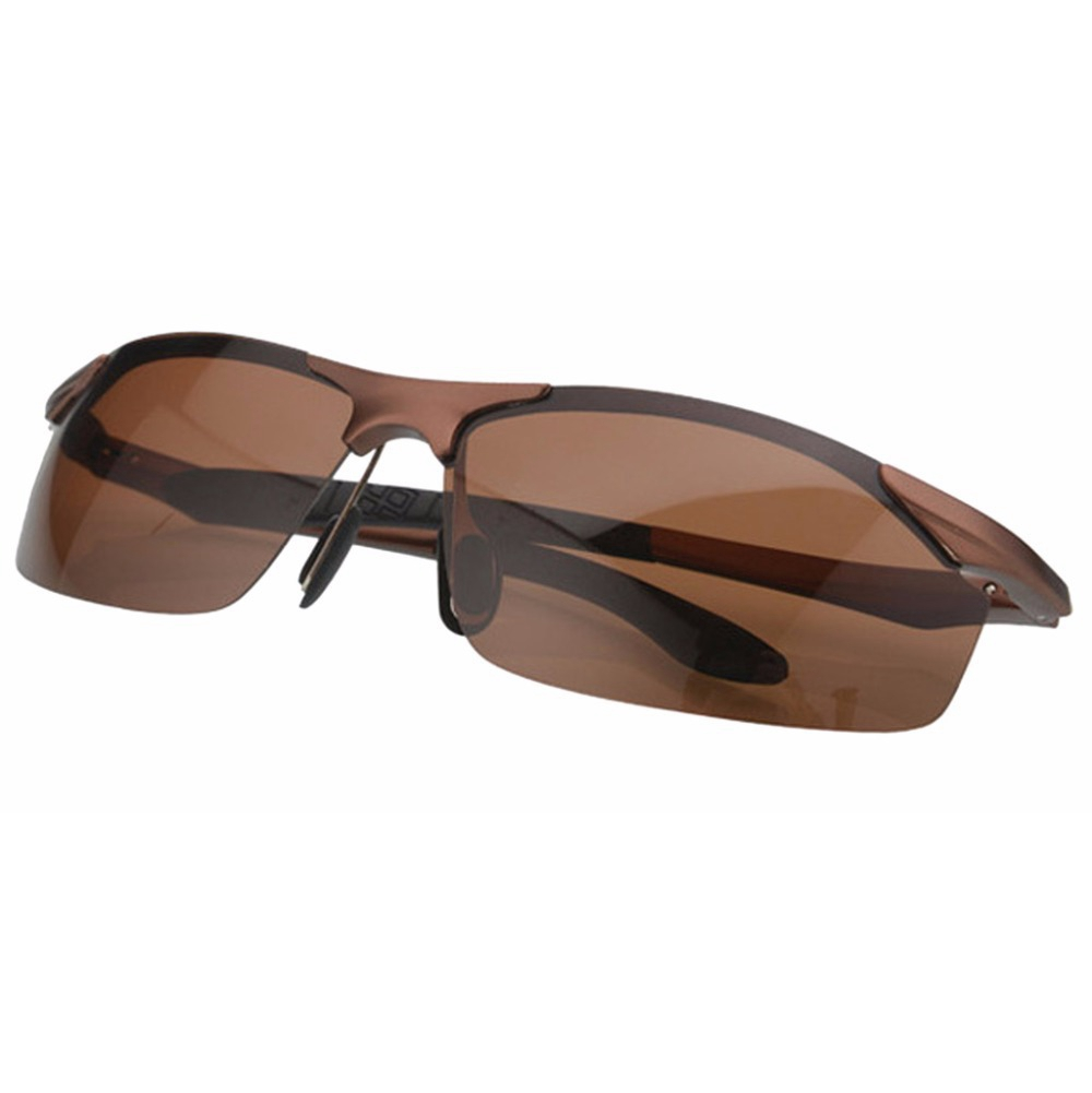 S8179 Eyekepper Spring Hinge Aluminum Sport Wrap Polarized Sunglasses Brown Frame/Brown Lens(China (Mainland))