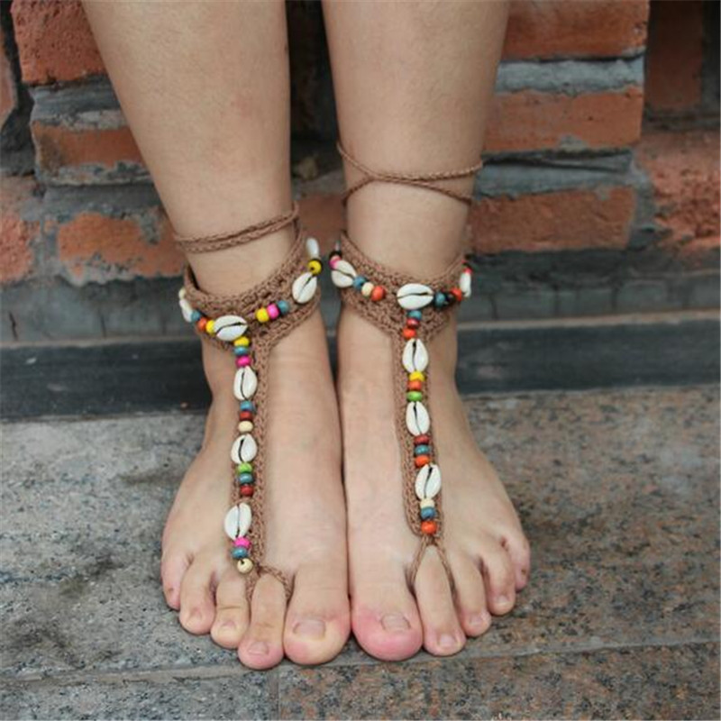 2016 Boho Crochet Colorful Wood Beads Shell Anklets For Women Summer Beach Toe Ring Charm Handmade Barefoot Jewelry SACJ1814(China (Mainland))