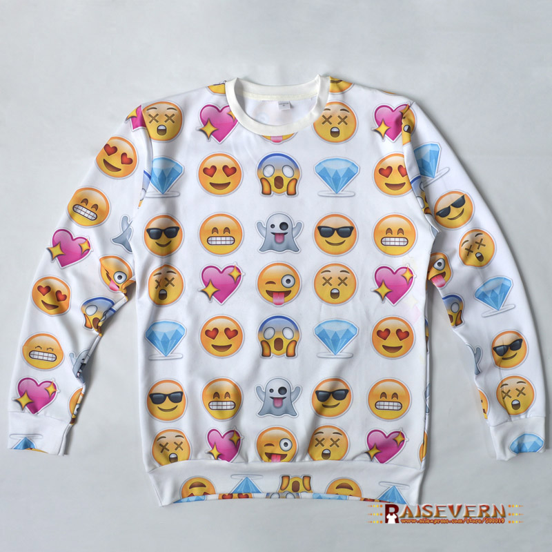 Hot fashion EMOJI sweat Women/Men Network expression print sweatshirt Funny 3d hoodies lovely cute cartoon clothes 4 size - GuangZhou Raisevern International Clothing Co. Ltd store