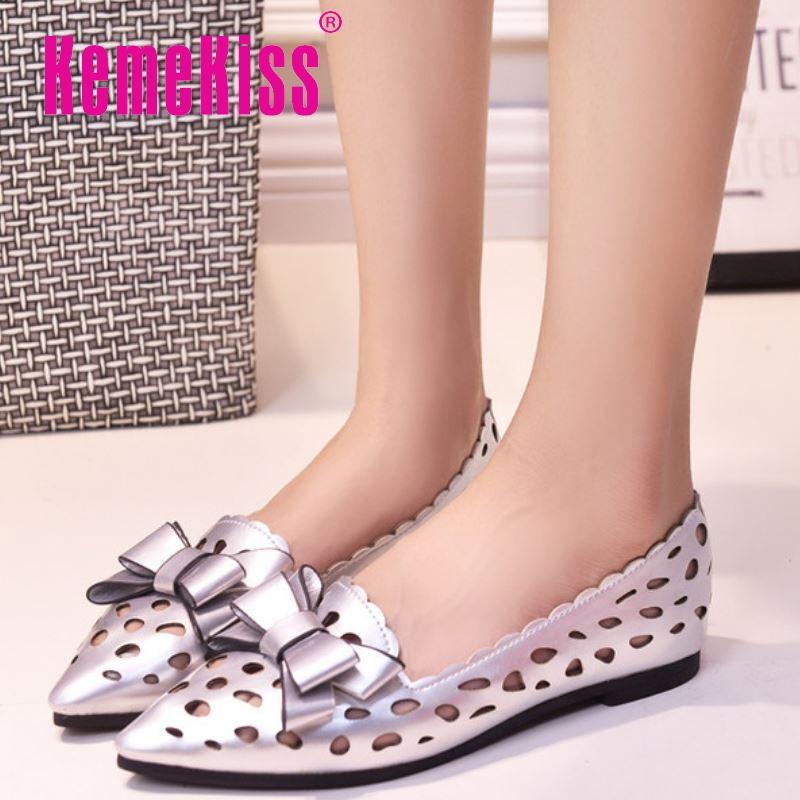 women pointed toe shoes sandals slip-on fretwork shoes female bowtie comfortable women flat sandals footwear WC0093 size 35-40<br><br>Aliexpress