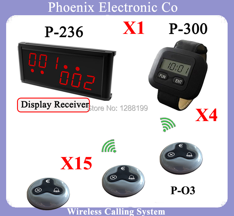 Restaurant Wireless waiter call System Including Table Calling Button And Display Receiver and Pager Watch(China (Mainland))