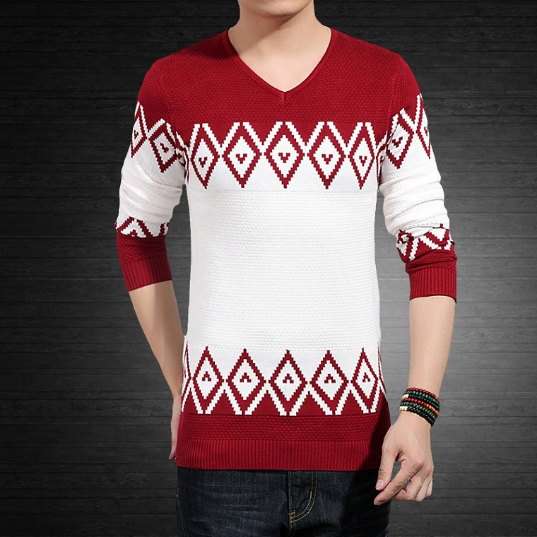 Free shipping Autumn and winter thin top trend male long-sleeve plus size male V-neck pullover sweater