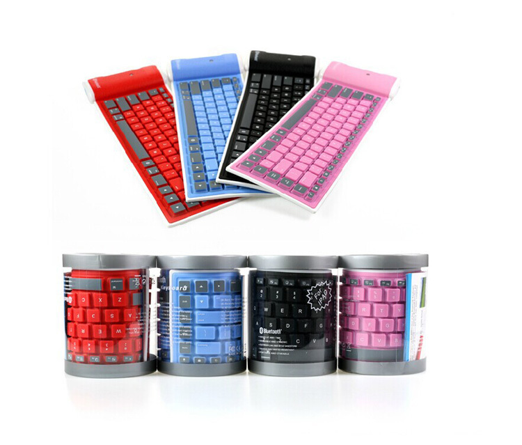 Mini Silicone Wireless Bluetooth Flexible Foldable Roll Up Keyboard For iPhone Samsung iPad Free Shipping(China (Mainland))