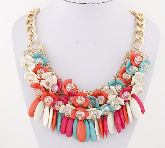 Новое поступление мода женщин бусины себе ожерелье богемия цветок многоуровневая кисти бахромы падение ожерелье