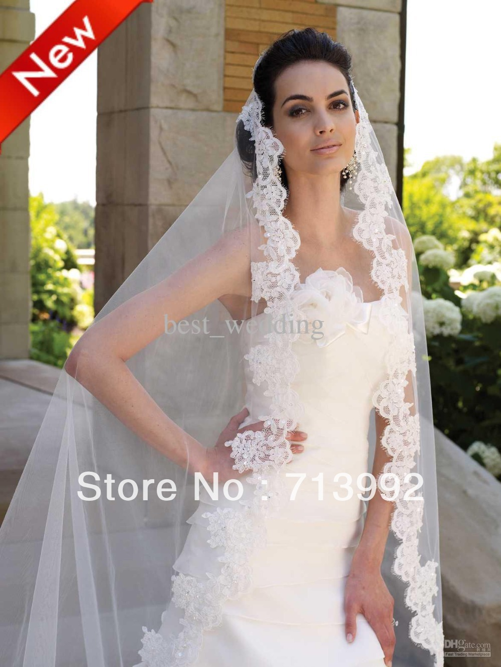 ... Lace Purfle Beaded Bridal Veils Tulle Wedding Dress Veil Custom Bridal