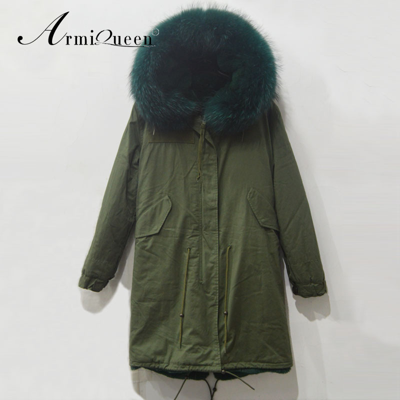 concept women army style light green collar hooded military parka jacket - Harve leger store