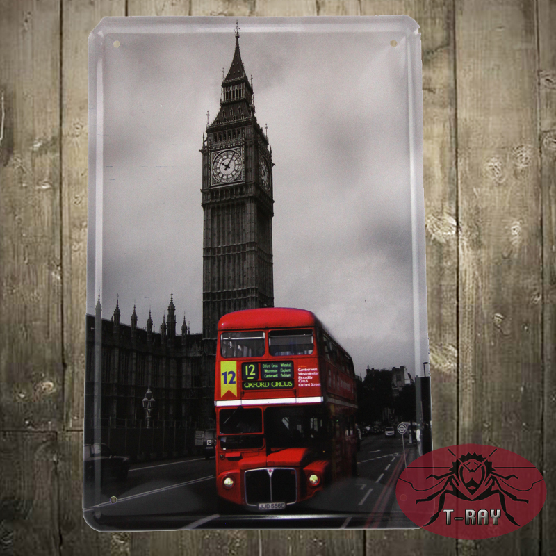 Hot Selling Modern london bus Wall art metal Signs Home Decorative Art Picture J-16 20*30cm Mix order(China (Mainland))