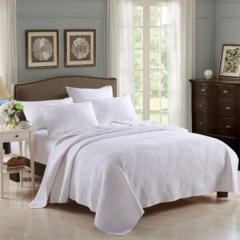 New adult white quilt cover quilt set add size 3pcs set for Living room quilt cover