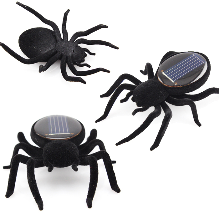 High quality Mini Solar Black Spider Robot For Fun/Gift/Educational Tool(China (Mainland))