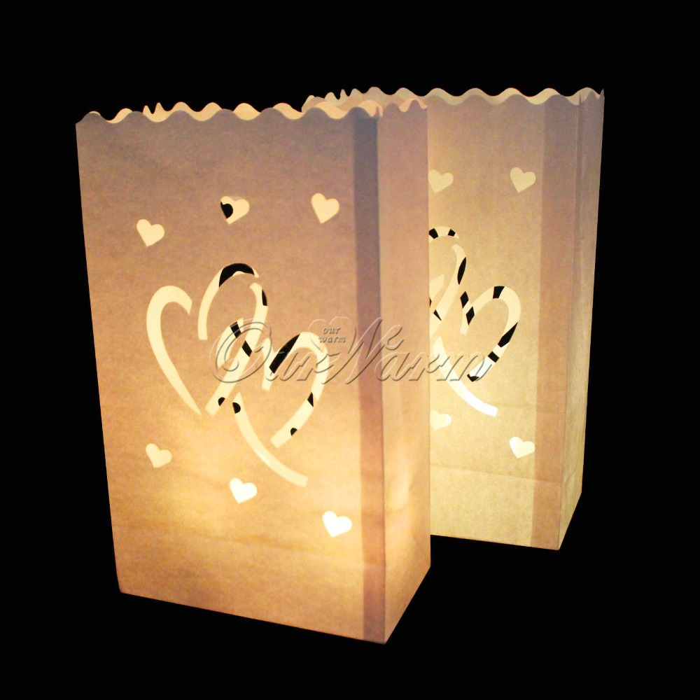 20Pcs/lot Candle Bag Double Heart Tea light Holder Luminaria Paper Lantern For Christmas Party Wedding Decoration Products(China (Mainland))