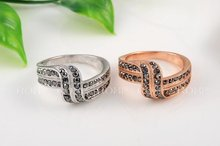 1PCS Free Shipping Double Rows Black Genuine Austrian Crystal Fashion Ring white Gold Plated Jewelry
