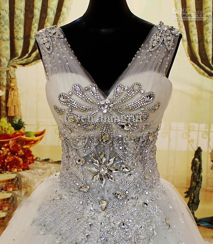 style sexy v neck crystals luxury wedding dresses