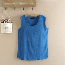 2015 New Women Solid 5 Colors XXXXL O Neck Linen Cotton Tanks Top Ladies Casual Plus Size Large Loose Soft Top Camis(China (Mainland))