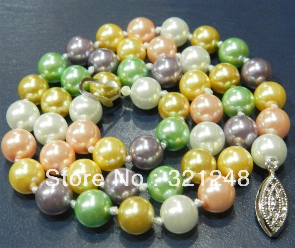 Wholesale price 12mm pink shell simulated- pearl round beads necklace for women party high quality gifts jewelry makinMY2033(China (Mainland))