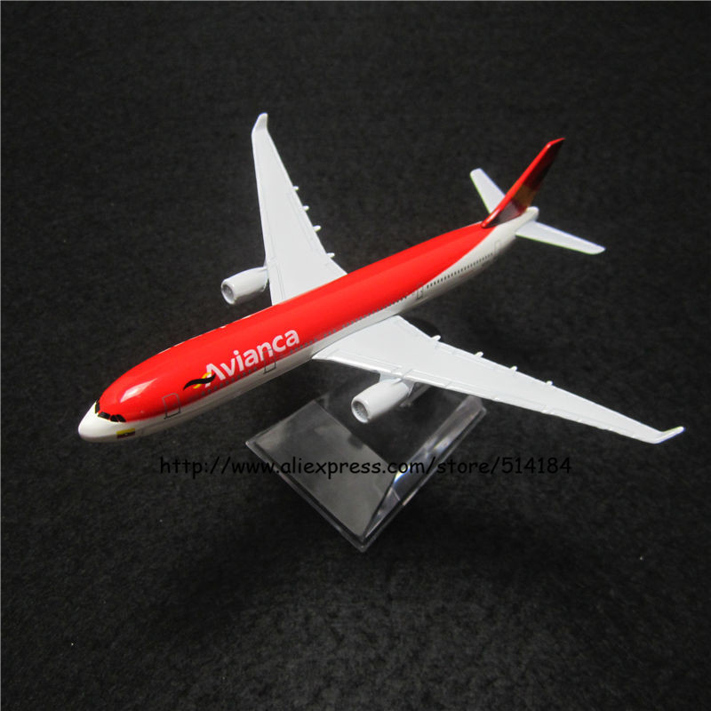 16cm Alloy Metal Air Avianca Airlines Airplane Model Airbus 330 A330 200 Airways Plane Model w Stand Aircarft Toy Gift(China (Mainland))