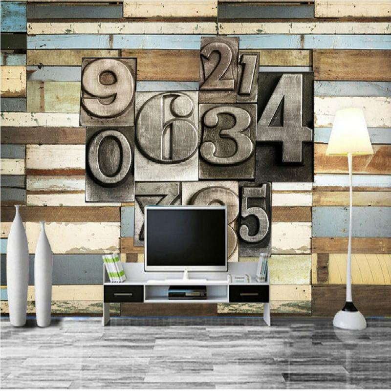 Vintage color wood metal 3d digital large mural wallpaper for Digital mural wallpaper