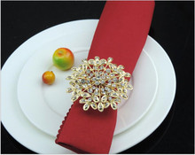 Gold Flower Napkin Ring for Table Decoration