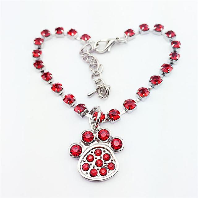 Crystal Diamante Footprint Rhinestone Pendant Pet Necklace Collar Dog Jewelry