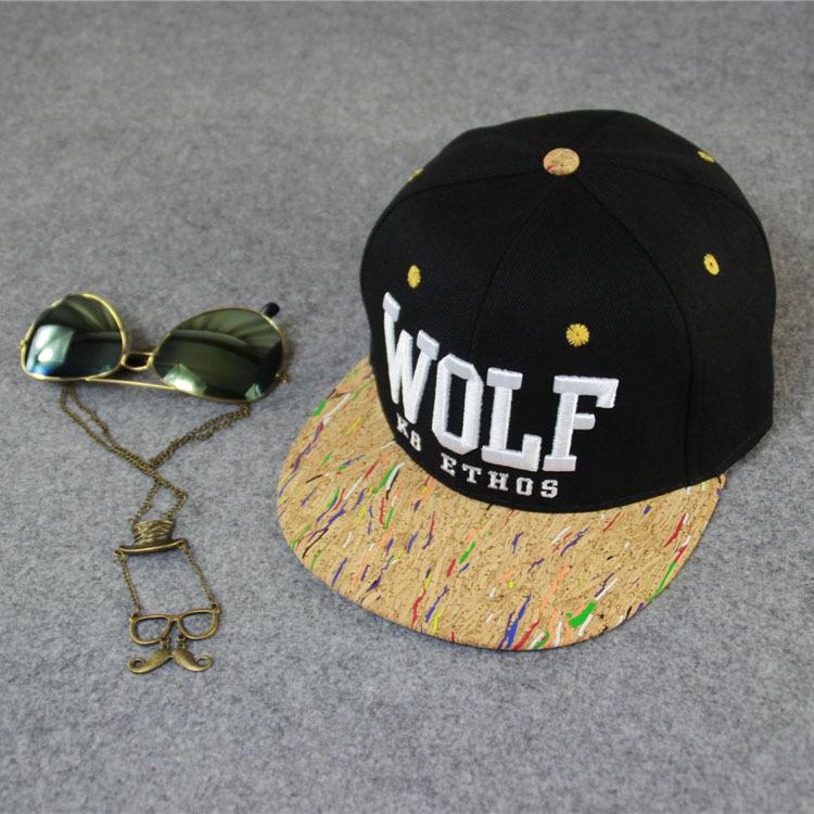 Free shipping wolf hiphop hats women and men black bule red dark gary color snapback cap street dance hats casual adjusta cap(China (Mainland))