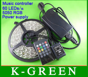 wholesale 5050 RGB LED strip 5m/Roll 300LEDs with new style IR music controller and power supply  DC12V 6A