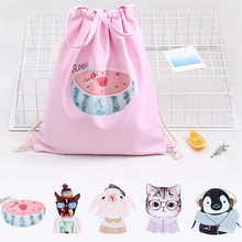 Girls Shoes Bags Watermelon Cat and Dog Pengui Handbags Drawstring Travel Shoulders Backpack Schoolbags Storage Bags B339(China (Mainland))