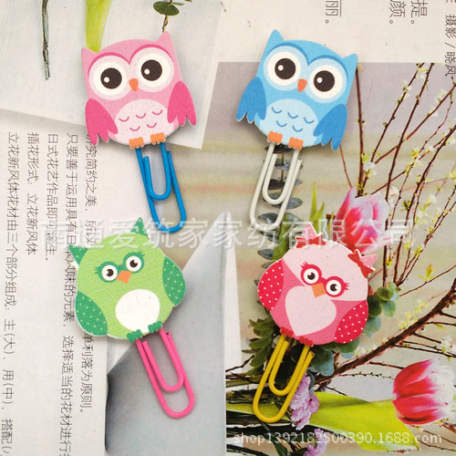 1pcs Paper Clips Owl Shaped Metal Cute Bookmark Decor for Wedding Gift.