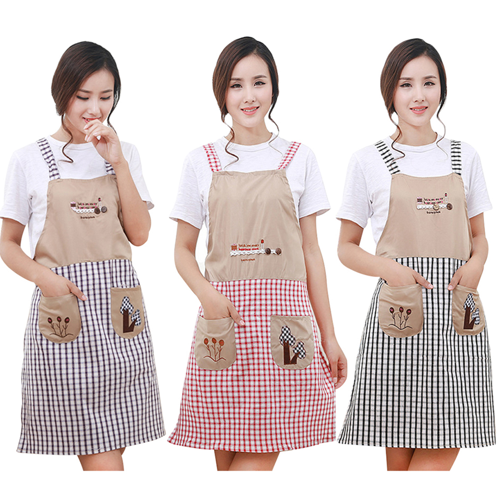 Classical Embroidery Apron Plaid Women Mujer Bowknot Kitchen Chef Apron Dress with Pocket Gifts Shoulder Strap Style ZLW301(China (Mainland))