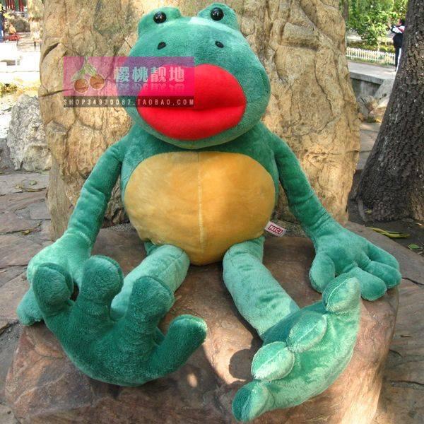 stuffed animal plush 80cm plush toy big red lip frog toy green colour doll w2426(China (Mainland))
