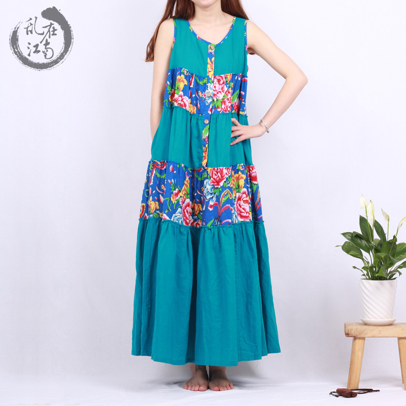 Branch brand 2015 spring and summer cotton sleeveless dress stitching art folk style loose dress dress versionОдежда и ак�е��уары<br><br><br>Aliexpress