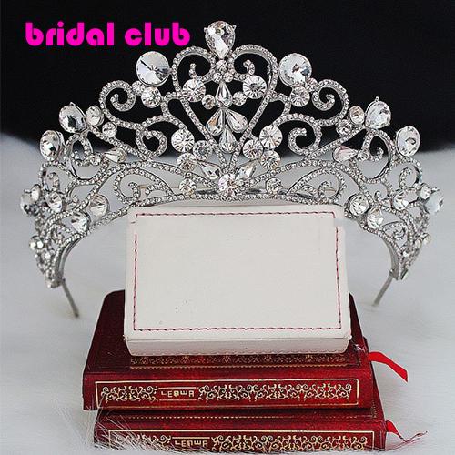 Royal Crystal Rhinestone Silver Plated Enlarge Wedding  Hair Crown  Bridal Tiara Bridal Quenn Princess Wedding Hair Accessories