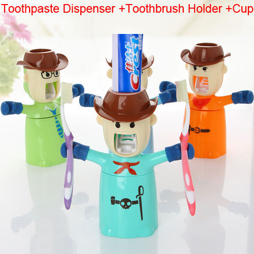 Household Bathroom Automatic Toothpaste Dispenser Toothbrush Holder Cup 3 in 1(China (Mainland))