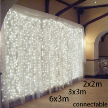 2x2m/3x3m/6x3m connectable New Year Christmas Garlands LED String Christmas Light Party Garden Wedding Decor Curtain fairy Light(China (Mainland))