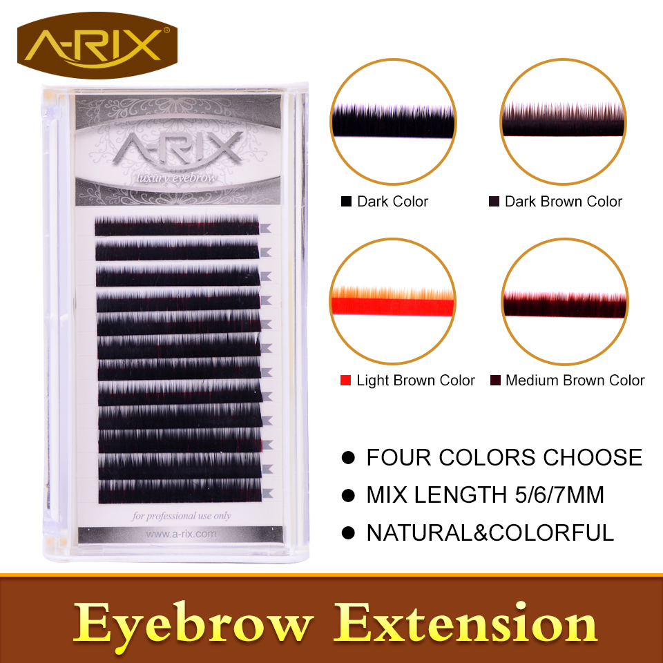 New Arrival Eyebrow Extension 1pc/lot Faux Mink Hair Professional Makeup Tools Mix Length 5/6/7mm 0.10/0.15 Dark&Brown Color(China (Mainland))
