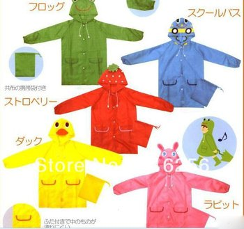 children poncho,kids animal model raincoat,polyester cute rain coat with bag 10pcs/lot mix colors free shipping ZF151