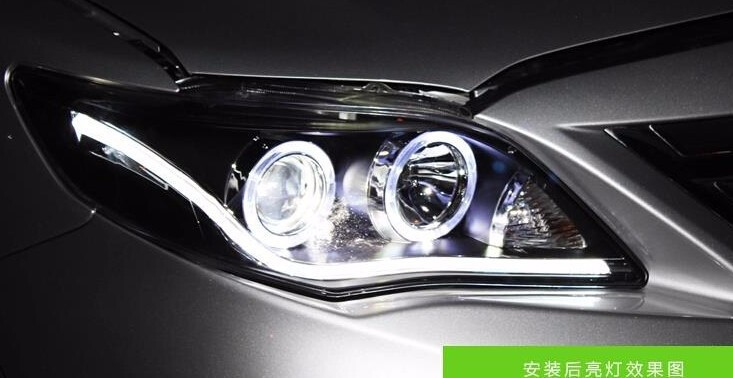Auto Clud Style LED Head Lamp for Toyota Corolla led headlights 2011 Altis angel eye led drl H7 hid Bi-Xenon Lens low beam
