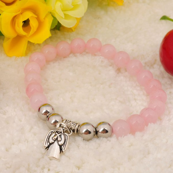 2014 Fashion natural Rose Quartz bracelet 8MM Crystal round beads women Charm Bangles christmas wedding birthday gifts<br><br>Aliexpress