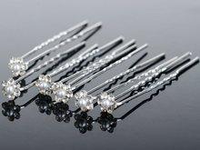 40PCS Wedding Accessories Bridal Pearl Hairpins Flower Crystal Rhinestone Diamante Hair Pins Clips Bridesmaid Women Hair