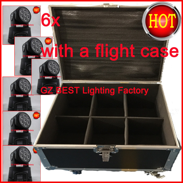 6pcs/lot LED Wash 7x12W moving head light with a flight case for 6 lights free shipping(China (Mainland))