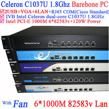 Network server firewall router barebone 1U with Celeron C1037U support ROS Mikrotik PFSense Panabit Wayos Monowall hi-spider etc