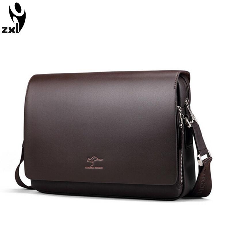 New Kangaroo 2015 fashion leather mens shoulder bags men messenger bag for IPAD handbag husband gift free shipping<br><br>Aliexpress