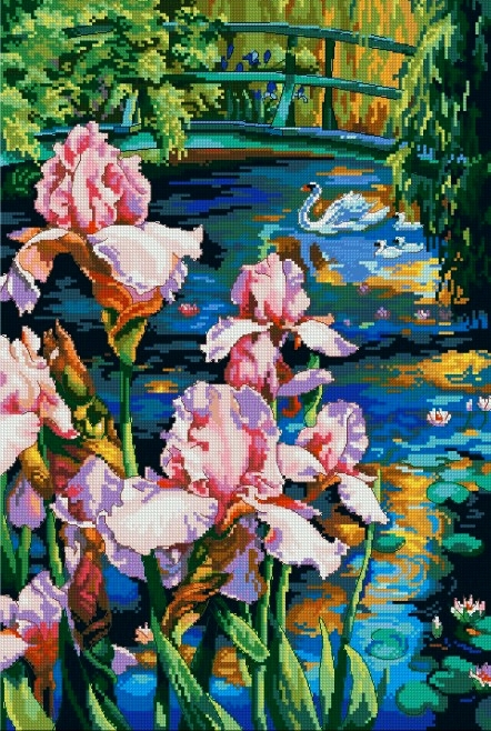 New 3D Needlework DIY Cross stitch,Sets For Embroidery kits,Beautiful pool Iris flowers floral pattern Cross-Stitch painting(China (Mainland))