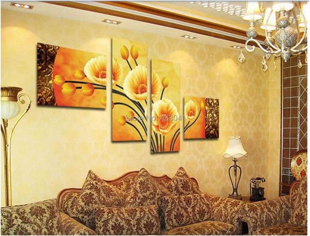 Cuadros pintados a mano tripticos moderno oleo - Murales de pared pintados ...