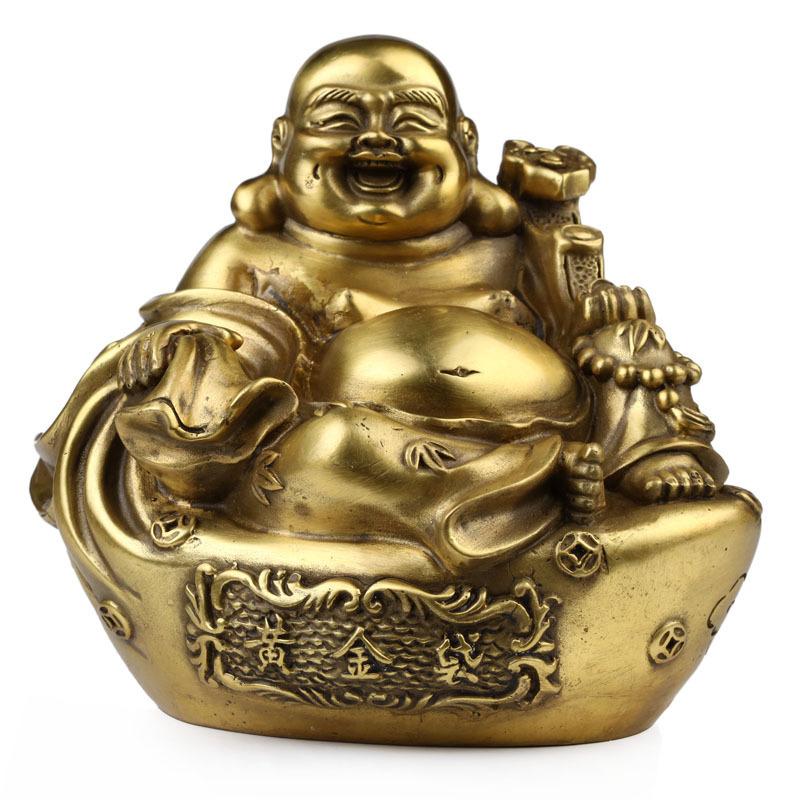 Kat karma copper gold ornaments bag Laughing Buddha Maitreya like Lucky town house feng shui home furnishings(China (Mainland))