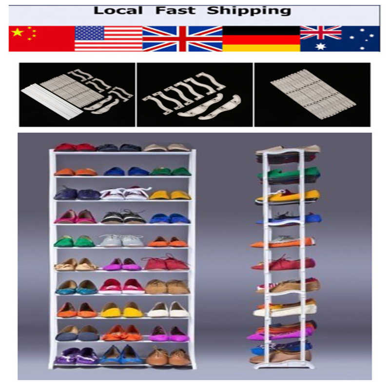 10 Tier Shoe Shoes Rack Holder 30 Pair Shelf Amazing Storage Home Organizer Shoes Storage Furniture(Hong Kong)