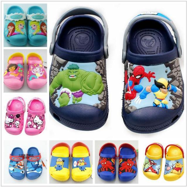 Новый 2016 эльза анна, kitty, дора, автомобиль, человек-паук, миньоны, халк, 3D мультфильм пляж тапочки, детская обувь, детские сандалии, мальчик девочка обувь