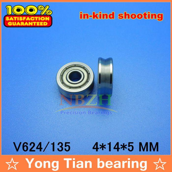 10 pcs V grooved straightener guide wheel bearings V624/135 V135 4*14*5 mm ABEC-5 Precision pulley V624ZZ 624VV(China (Mainland))